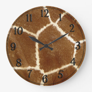 Nature Textured Photo Giraffe Animal Print Pattern Large Clock