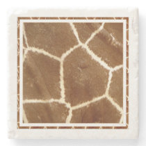 Nature Textured Photo Giraffe Animal Print Pattern Stone Coaster