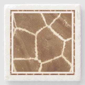 Nature Textured Photo Giraffe Animal Print Pattern Stone Coaster