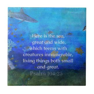 Nature themed Bible Verses about SEA Genesis 1:21 Ceramic Tile