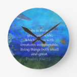 Nature themed Bible Verses about SEA Genesis 1:21 Round Clocks