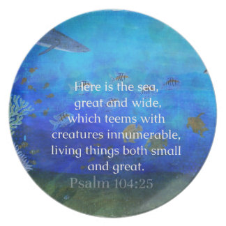 Nature themed Bible Verses about SEA Genesis 1:21 Dinner Plate