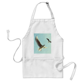 Nature Themed, Couple Of Seagulls Fluttering Their Adult Apron