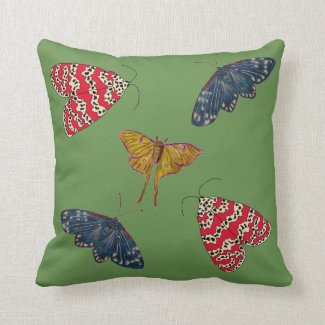 Nature Throw Pillow with Beautiful Moths