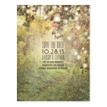 Nature trees & string lights rustic save the date postcards