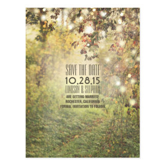 Nature trees & string lights rustic save the date postcard