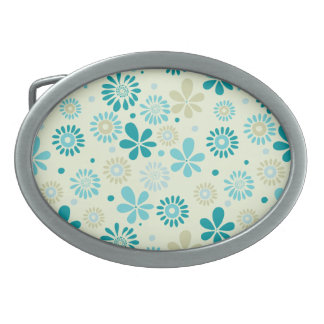 Nature Turquoise Abstract Sunshine Floral Pattern Belt Buckle