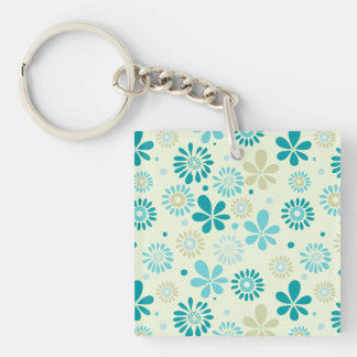 Nature Turquoise Abstract Sunshine Floral Pattern Double-Sided Square Acrylic Keychain