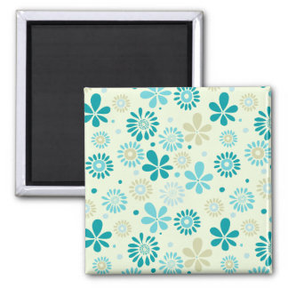 Nature Turquoise Abstract Sunshine Floral Pattern Magnet