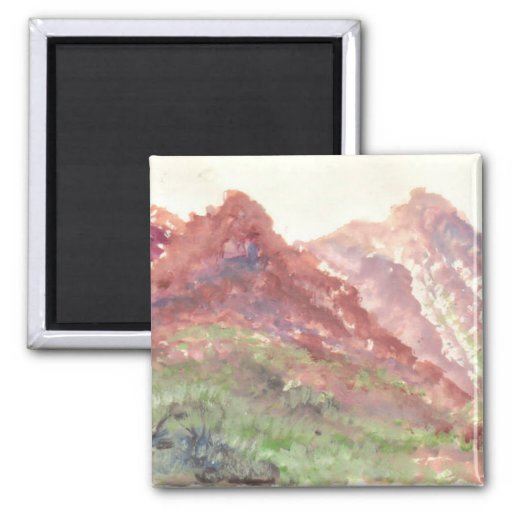 Nature watercolor 2 inch square magnet