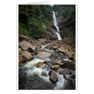 Nature waterfall and river greeting card