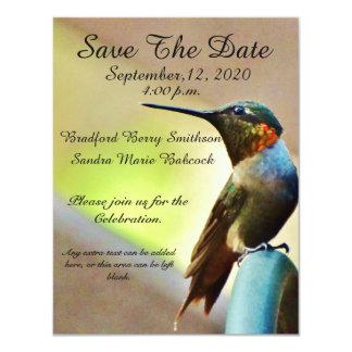 "Nature Wedding Hummingbird Save the Date invite 4.25"" X 5.5"" Invitation Card"