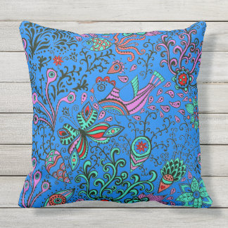 Nature Whimsy Floral Throw Pillow