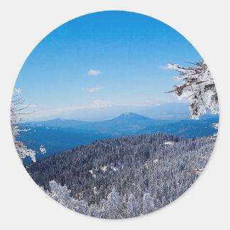 Nature Winter Moutain Top Veiw Classic Round Sticker