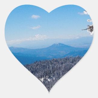 Nature Winter Moutain Top Veiw Heart Sticker