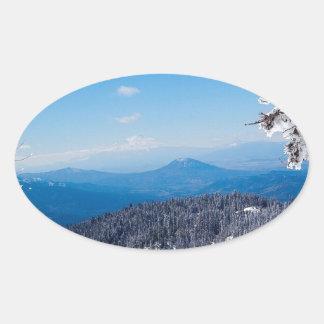 Nature Winter Moutain Top Veiw Oval Sticker