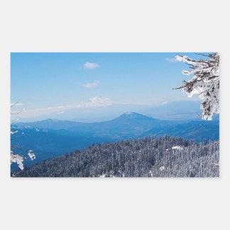 Nature Winter Moutain Top Veiw Rectangular Sticker