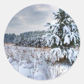 Nature Winter New Plantation Classic Round Sticker