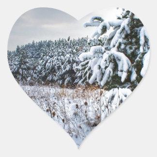 Nature Winter New Plantation Heart Sticker