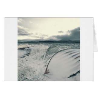 Nature Winter Whiteout Boats Greeting Card