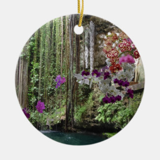 Nature with orchids ceramic ornament