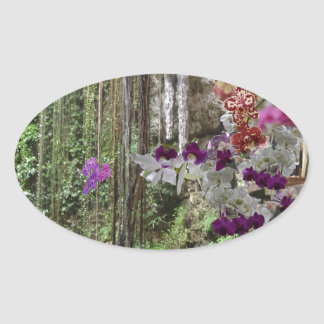 Nature with orchids oval sticker