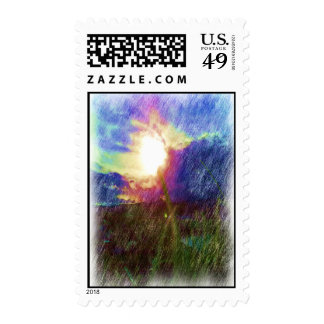 Nature with the sun looking like a flower postage