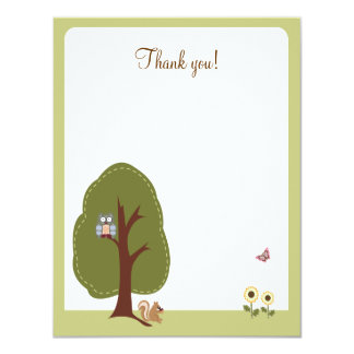 Nature Woodland Earthy Flat Thank you card