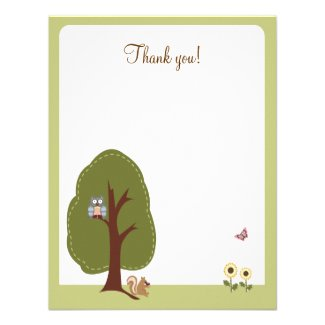 Nature Woodland Earthy Flat Thank you card Announcements