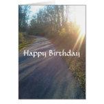 Nature Woods Path Sun Rays Grass Birthday Greeting Cards