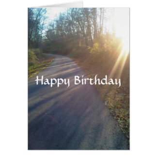 Nature Woods Path Sun Rays Grass Birthday Card
