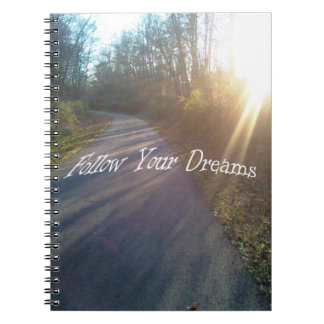 Nature Woods Path Sun Rays Grass Follow Dreams Notebook
