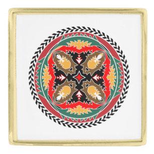 Naturea Loveru0027s Forest Pine Cone Tribal Design Gold Finish Lapel Pin