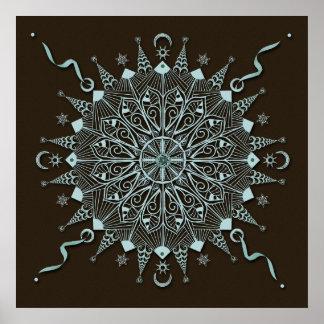Nature's Balance in Turquoise Mandala Poster Print
