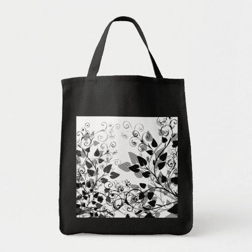 Natures Black White Floral bag