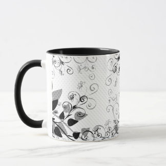 Natures Black White Floral mug