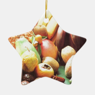 Nature's bounty, fruit and vegetables Double-Sided star ceramic christmas ornament