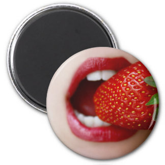 Nature's Candy - Woman Eating Strawberry Refrigerator Magnets