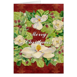 Nature's Christmas Magnolia Wreath n Pine Boughs Stationery Note Card