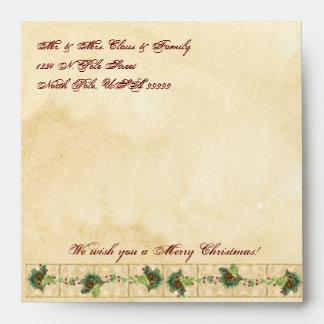 Nature's Christmas Magnolia Wreath n Pine Boughs Envelope