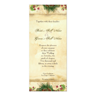 Nature's Christmas Magnolia Wreath n Pine Boughs 4x9.25 Paper Invitation Card