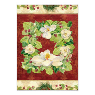Nature's Christmas Magnolia Wreath n Pine Boughs 5x7 Paper Invitation Card