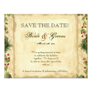 Nature's Christmas Magnolia Wreath n Pine Boughs 4.25x5.5 Paper Invitation Card