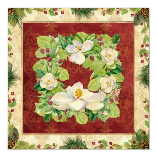 Nature's Christmas Magnolia Wreath n Pine Boughs 5.25x5.25 Square Paper Invitation Card