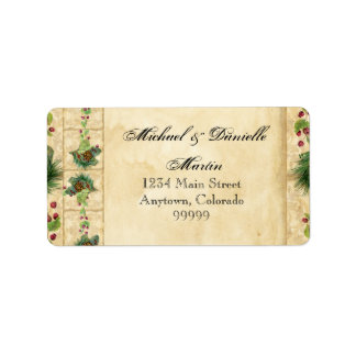 Nature's Christmas Magnolia Wreath n Pine Boughs Address Label
