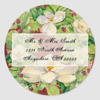 Nature's Christmas Magnolia Wreath n Pine Boughs Classic Round Sticker