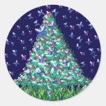 Natures Christmas Tree Round Sticker