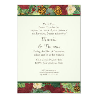 Nature's Christmas Winter Holiday Magnolia n Pine 5x7 Paper Invitation Card