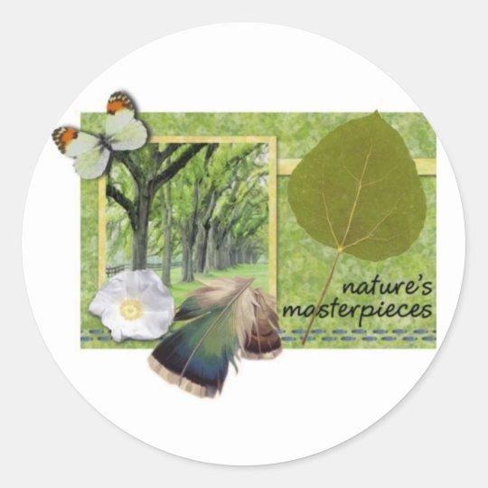 Natures masterpieces classic round sticker
