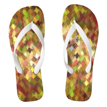 Beach Themed Nature's Shades Harlequin Pattern Flip Flops